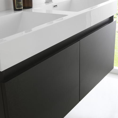 Prime Fresca Mezzo 48 Black Wall Hung Double Sink Modern Bathroom Download Free Architecture Designs Xoliawazosbritishbridgeorg