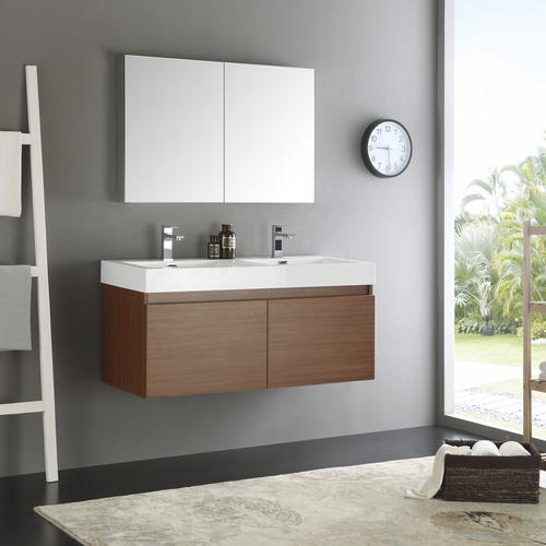 Fresca mezzo 48 teak wall hung double sink modern - Menards bathroom vanities 48 inches ...