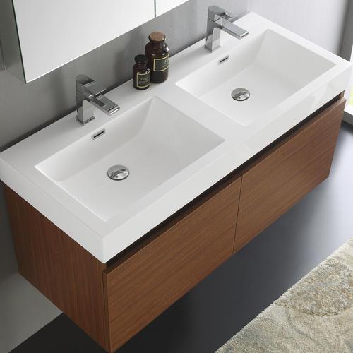 Fresca Mezzo 48 Teak Wall Hung Double Sink Modern Bathroom Vanity