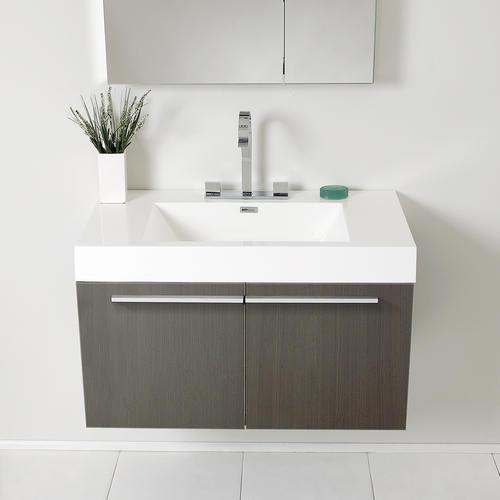 "Fresca Vista 36"" Gray Oak Modern Bathroom Vanity with ..."