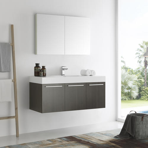 Fresca vista 48 gray oak wall hung modern bathroom vanity - Menards bathroom vanities 48 inches ...