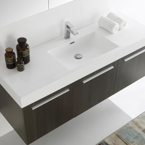 Fresca 60 W X 19 D Gray Oak Single Sink Vista Vanity And Vanity