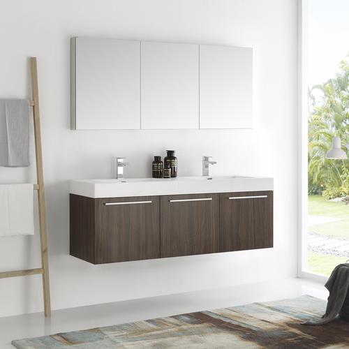 . Fresca Vista 60  Walnut Wall Hung Double Sink Modern Bathroom Vanity