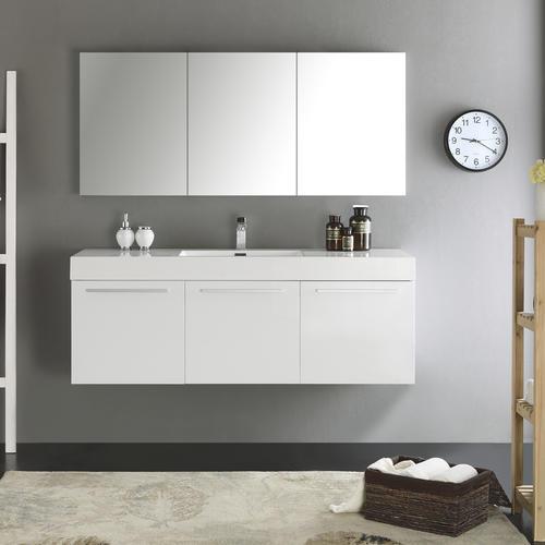 Wondrous Fresca Vista 60 White Wall Hung Single Sink Modern Bathroom Download Free Architecture Designs Lectubocepmadebymaigaardcom