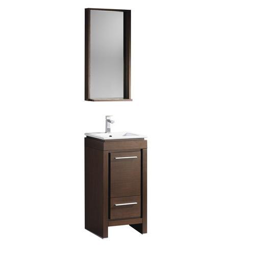 "Fresca Allier 16"" Wenge Brown Modern Bathroom Vanity with Mirror"