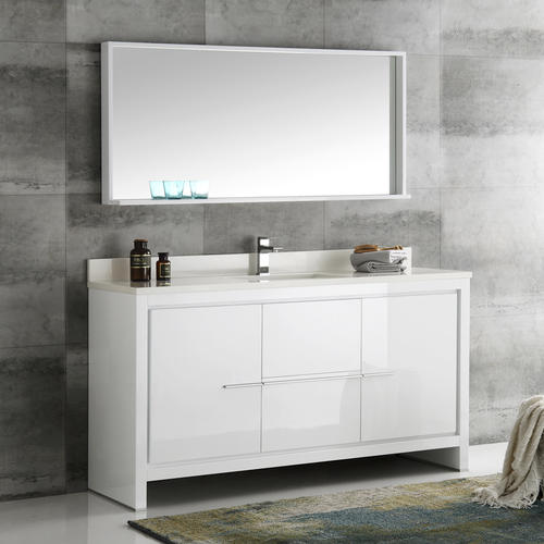 Fresca Allier 60 White Modern Single Sink Bathroom Vanity With