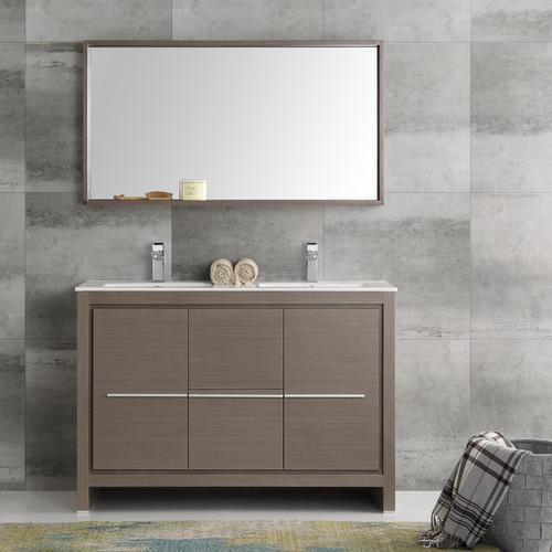 Fresca Allier 48 Gray Oak Modern Double Sink Bathroom Vanity With
