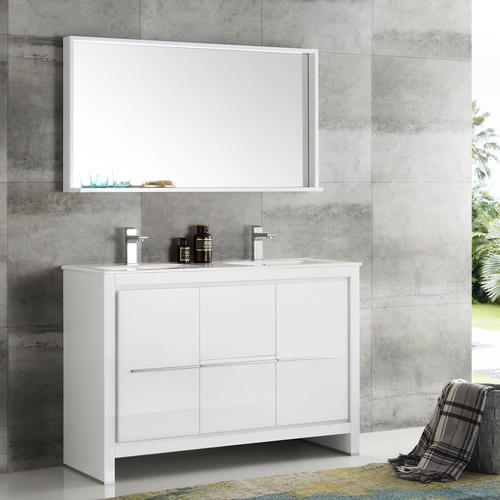 Fresca Allier 48 White Modern Double Sink Bathroom Vanity With