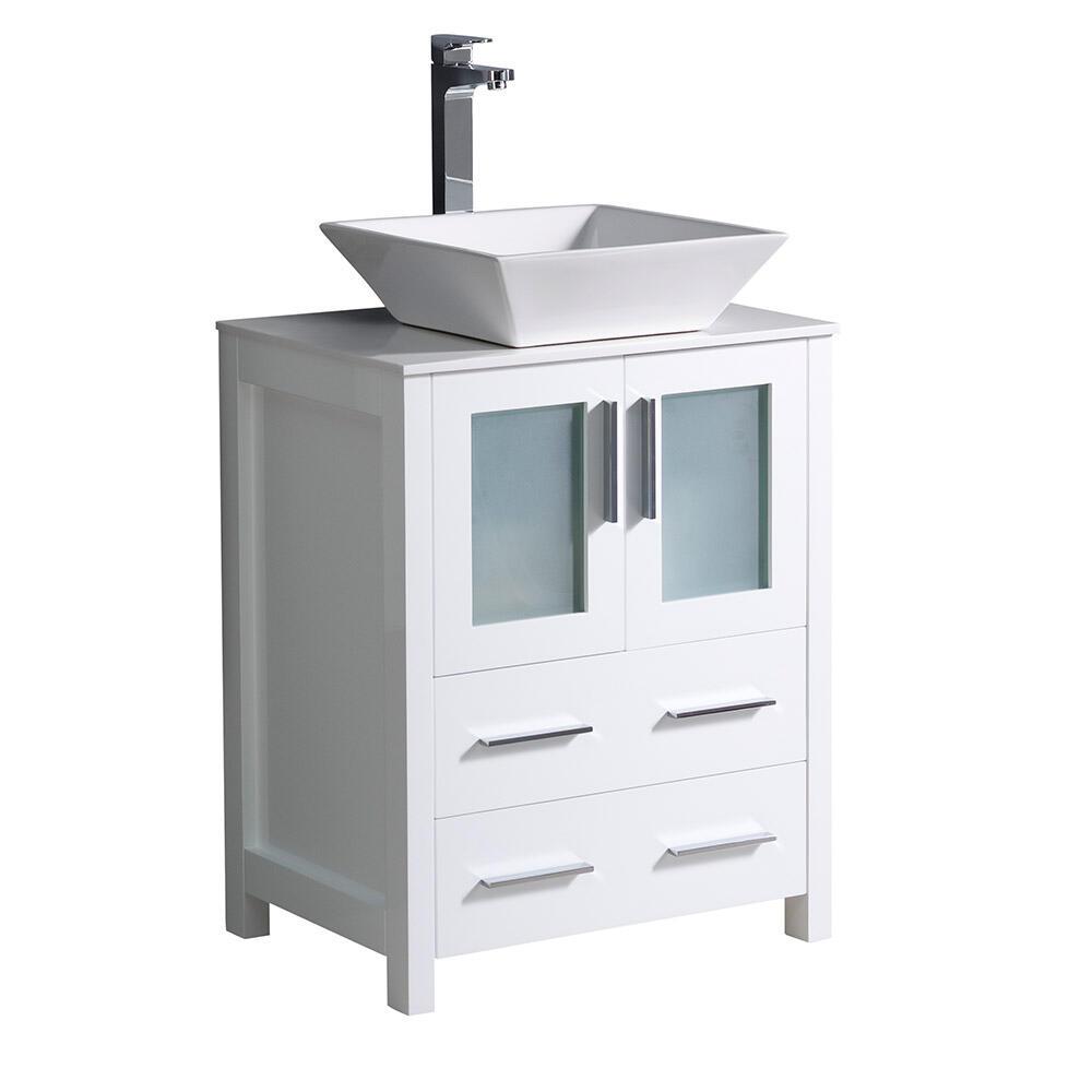 Fresca Torino 24 W X 18 1 8 D White Vanity With White Glass Stone Vanity Top With Ceramic Vessel Bowl At Menards
