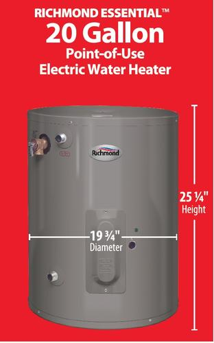 Richmond Essential 20 Gallon 6 Year Electric Water Heater At Menards