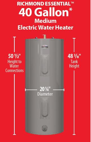 Richmond Essential 40 Gallon 6 Year Electric Tank Water Heater At Menards
