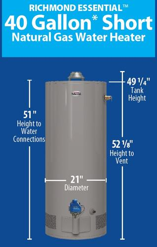 Richmond Essential 40 Gallon Short 6 Year Natural Gas Tank Water Heater At Menards