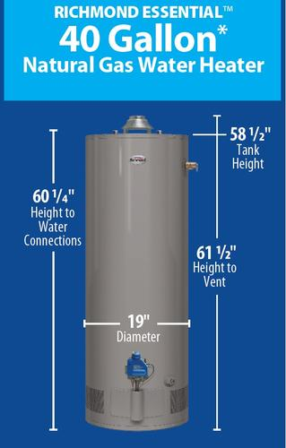 Richmond® Essential® 40 Gallon 6-Year Natural Gas Water ... on water heater schematic diagram, golf green construction diagram, electric water heater circuit diagram, water heater thermostat diagram, electric hot water heater diagram, richmond water heater installation guide, rheem electric heat diagram, home heater wire diagram, richmond water heater manual pdf, water heater installation diagram, richmond water heater electrical, hvac water heater with diagram, rheem wiring diagram, richmond water heater parts,