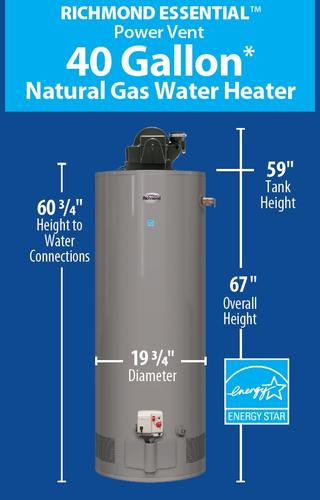 Richmond Essential 40 Gallon Tall Power Vent 6 Year Natural Gas Water Heater At Menards