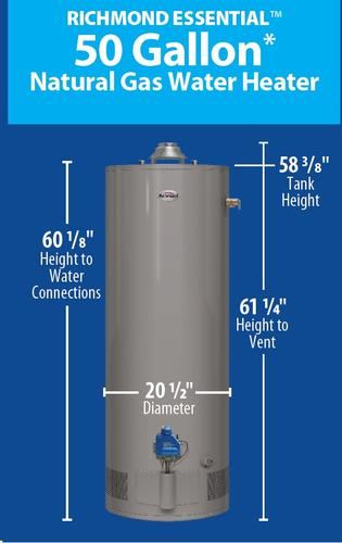Richmond 174 Essential 174 50 Gallon 6 Year Natural Gas Water