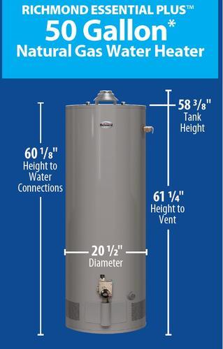 Richmond® Essential Plus® 50 Gallon 9-Year Natural Gas Water
