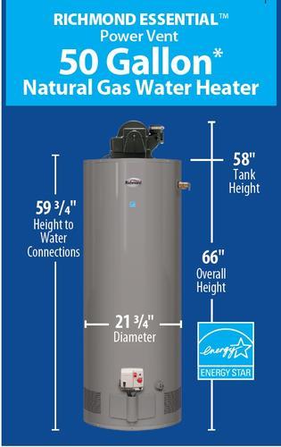 Richmond® Essential® 50 Gallon Tall Power Vent 6-Year