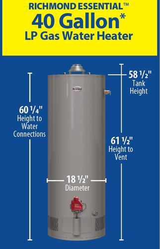 Richmond Essential 40 Gallon 6 Year Liquid Propane Water Heater At Menards
