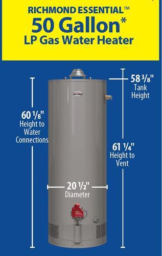 Richmond 174 Essential 174 50 Gallon 6 Year Liquid Propane Water