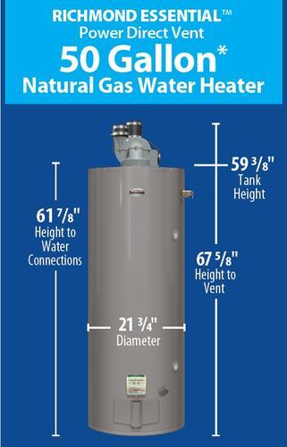 Richmond® Essential® 50 Gallon Power Direct Vent 6-Year Natural Gas