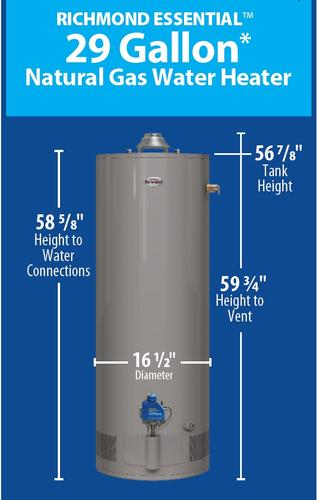 Richmond Essential 29 Gallon 6 Year Natural Gas Water Heater At Menards