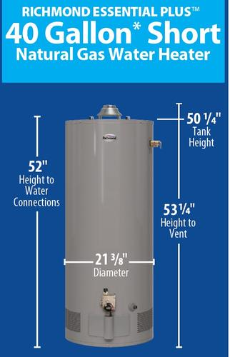 Richmond Essential Plus 40 Gallon Short 9 Year Natural Gas Tank Water Heater At Menards