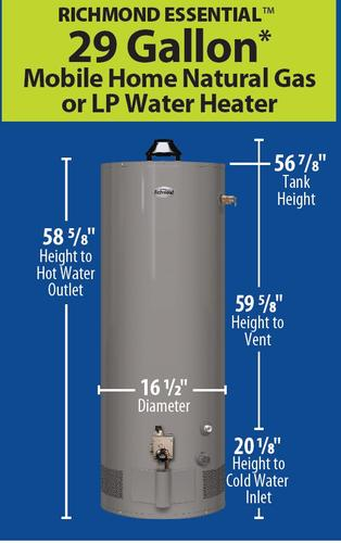 Richmond® Essential® 29 Gallon 6-Year Mobile Home ... on rheem water heater 30 gal mobile home, rheem water heater element, rheem tankless water heater, rheem models,