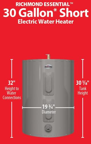 Richmond Essential 30 Gallon Short 6 Year Electric Water Heater At Menards