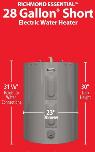Richmond Essential 28 Gallon Short 6 Year Electric Water Heater At Menards