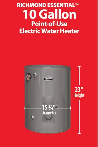 Richmond Essential 10 Gallon 6 Year Electric Water Heater At Menards