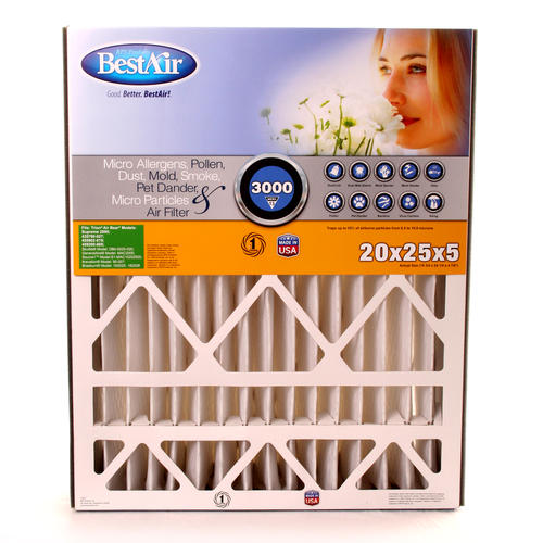 "bestair® 20""x25""x5"" pleated replacement air filter merv 13 at menards®"