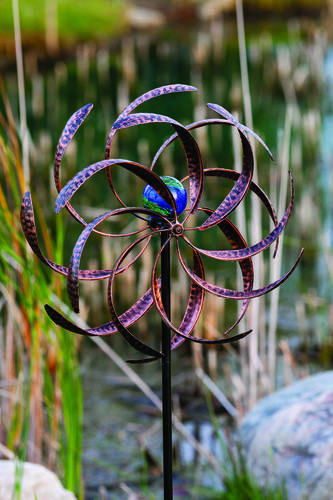 Enchanted Garden™ Illuminarie Leaf Dual-Motion Wind Wheel Garden Stake