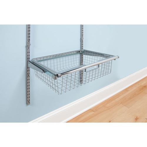 Rubbermaid Fasttrack 24 W X 18 D Satin Nickel Sliding Wire Closet Basket At Menards