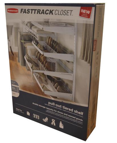 Rubbermaid Fasttrack Closet 24 W X 18 D White Wire Closet Tiered Sliding Shelf At Menards