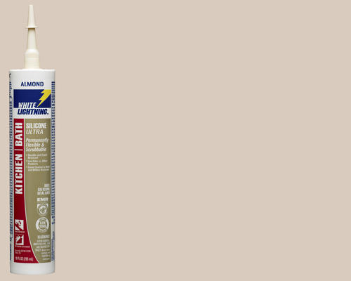 White Lightning Kitchen Bath Silicone Ultra Almond Sealant