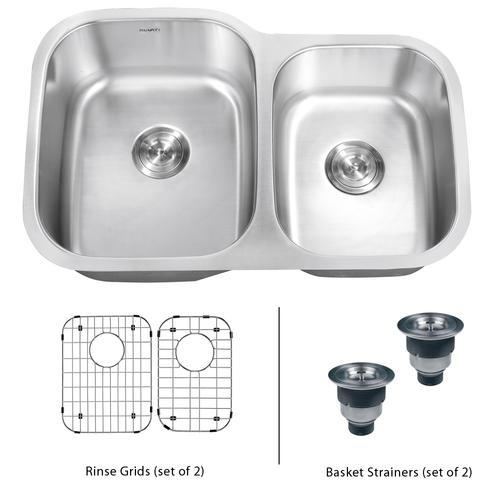Ruvati 32-inch Undermount 60/40 Double Bowl 16 Gauge Stainless Steel on stainless steel undermount double sink, undermount stainless steel apron front farmhouse sink, 60 40 kitchen sink, 60 40 38 stainless sink,