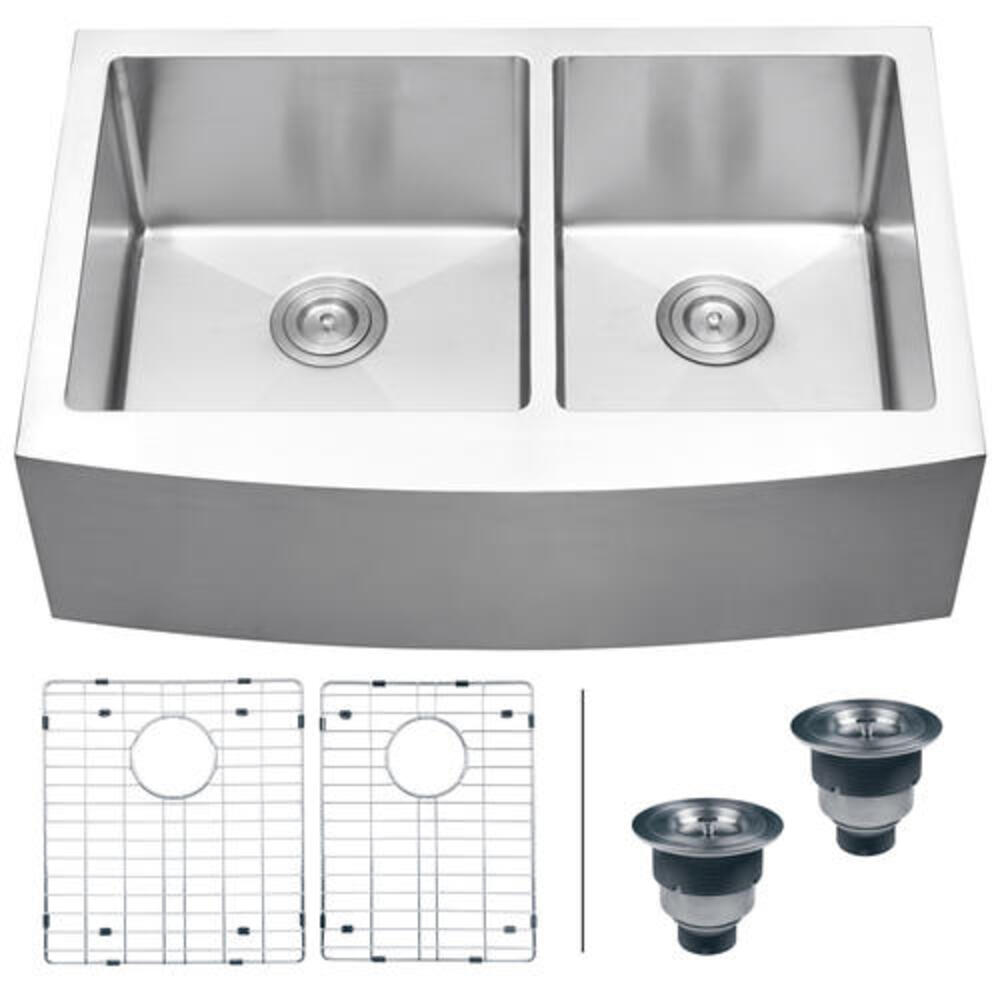 Ruvati Farmhouse Apron Front 33 Stainless Steel Workstation Low Divide Double Bowl Kitchen Sink At Menards