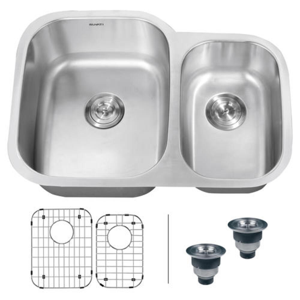 Ruvati 29 Inch Undermount 60 40 Double Bowl 16 Gauge Stainless Steel Kitchen Sink Rvm4500 At Menards