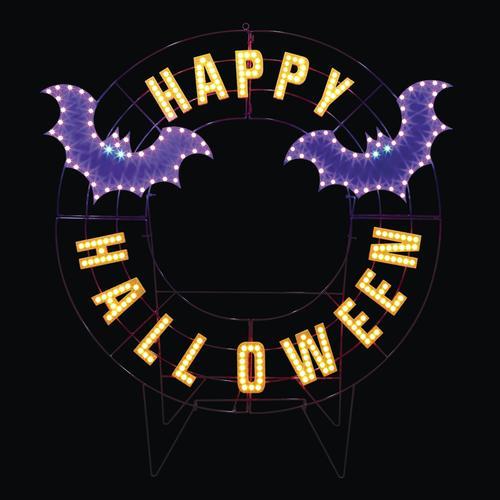 "Pumpkin Hollowâ""¢ 40"" Pre Lit Happy Halloween Wreath at Menards"