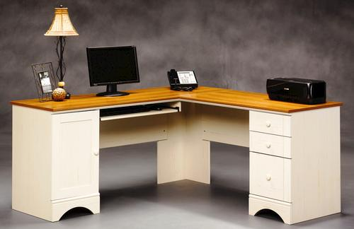 Sauder Harbor View Antique White Corner Computer Desk at Menards