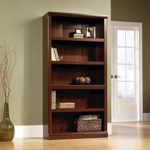 Details About Cherry Wood 5 Shelf Bookcase Doors Bookshelf Book Case Shelves Hidden Storage