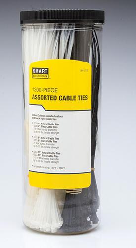 1a358ec3001e Smart Electrician® Assorted Standard Cable Ties - 1200 pk at Menards®