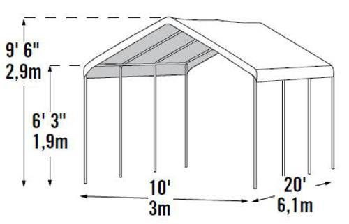 Shelterlogic Max All Purpose 10 X 20 Canopy 8 Leg White At Menards