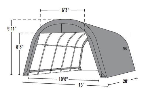 Shelterlogic Roundtop 13 W X 20 L X 10 H Instant Sheltergray At Menards