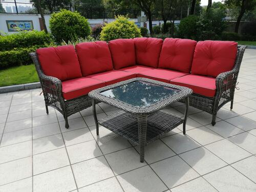 Backyard Creations Canton Red Sectional Seating Patio Set At Menards