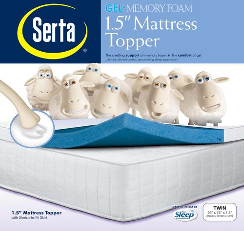 Serta 1 1 2 Thick Twin Sized Memory Foam Gel Mattress Topper At