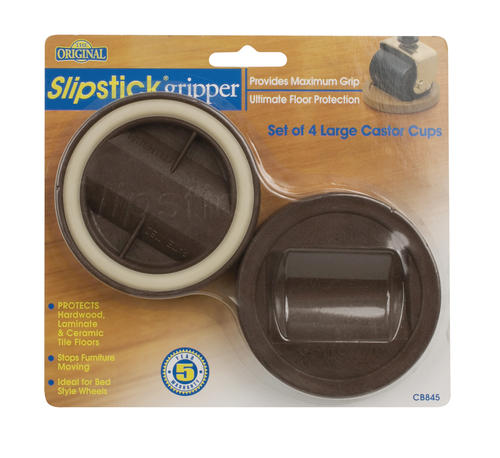 "Slipstick® 3-1/4"" Large Caster Cup Gripper Floor Protector - 4 Pack"