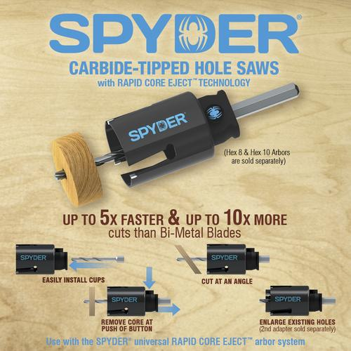 "Spyder 600637 High-Speed Steel Complete Arbor System 3//8"" Hex 8 Rapid Core Eject"