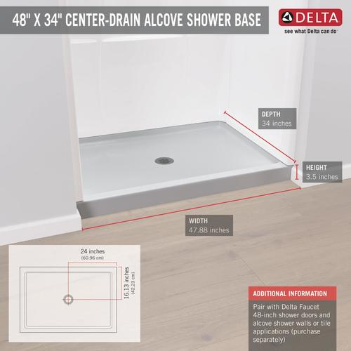 48 Inch Shower Base With Seat.Delta Hycroft 48 X 34 White Shower Base With Center