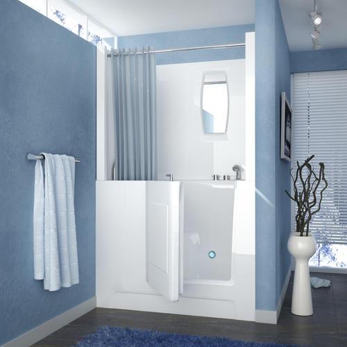Meditub 47 W X 27 D White Right Drain Soaking Walk In Bathtub At Menards